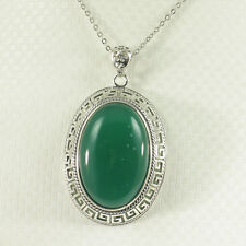 Cabochon Oval Shaped Green Agate Pendant Solid Sterling Silver .925 TPJ