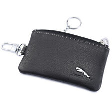 car Jaguar Genuine Leather Key Case KeyChain Key Fob Cover Ring Chain Holder
