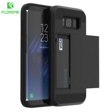 Slim Credit Card Slot Armor Hybrid Phone Back Dual Case Cover For iPhone Samsung