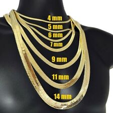 """14K Gold Plated Herringbone Chain Flat Hip Hop Necklace 4mm - 14mm 20"""" 24"""" 30"""""""
