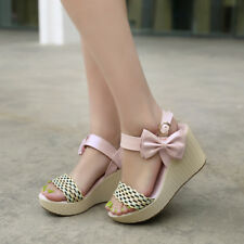 NEW Womens Ladies High Heels Shoes Wedge Round-toe Bowknot Pumps AU Size YD4117