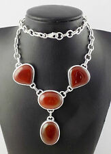 Natural Red Onyx Oval and Heart Shape Cabochon 925 Sterling Silver Necklace