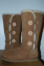 UGG Tall Triplet Bailey Button Chestnut Suede Sheepskin Boots Womens 1873