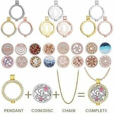 Crystal Rhinestone DIY Floating Charms Coin Locket Pendant Necklace Jewelry Gift