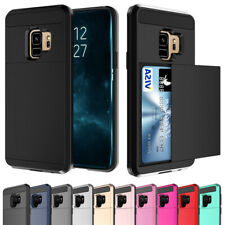 For Samsung S8 S9 Plus Note 9 8 Slide Card Slot Case Heavy Duty Shockproof Cover