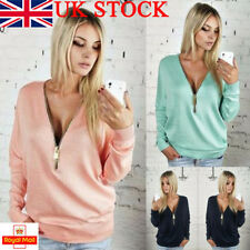 UK Womens T-Shirt Batwing Long Sleeve V Neck Zipper Slim Fit Blouse Pullover Top