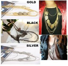 BOHEMIAN CHAIN 5 CHAIN NECKLACE WITH LEAVES KP56 LONG CHARCOAL SILVER OR GOLD
