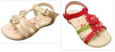 Girls Red Flower Sandals/White Sequin Butterfly Sandals Infant Size 3,4,4.5,6,7