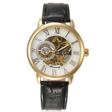 Fashion Leather Automatic Mechanical Steampunk Men Stainless Steel Wrist Watch