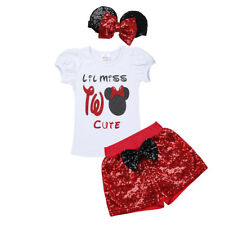 Baby Girls Lil Miss Two Cute Outfit Short Sleeve T-Shirt+Shorts Summer Clothes