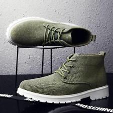 New Mens Casual High top Canvas Boots Breathable Lace up Fashion Sneakers Shoes