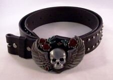 Winged Emo Skull Removable Belt Buckle & Solid Black Studded Leather Belt