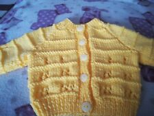 Yellow hand knitted baby cardigan - new -  0 to 3 months