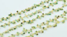 Natural Chrysoprase Dangling Wire Wrapped Beaded Rosary Link Chain Necklace