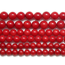 5 Strand Red Coral Smooth Round Ball Gemstone Loose Spacer Beads 15""