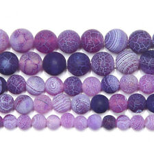5 Strand Frost Crab Purple Agate Smooth Round Gemstone Loose Spacer Beads 15""