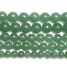 5 Strand Green Aventurine Smooth Round Ball Gemstone Loose Spacer Beads 15""