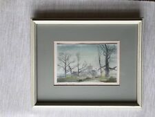 Original Painting Watercolour Minature Church Tilshead Wiltshire Signed Old