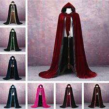 VELVET + LINED GOTHIC CLOAK HALLOWEEN BLACK CAPE HOODED WICCA MEDIEVAL LARP SCA