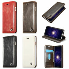 Genuine Leather Flip Stand Wallet Case Cover For Samsung Galaxy S5 S6 S7 S8 Plus