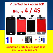 LCD SCREEN FRAMED TACTILE GLASS FOR IPHONE 4 / 4S Black or White + TOOLS