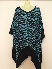 Plus Size fits up 22 24 26 Kaftan Poncho Top Zebra black white, blue white