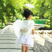 Adult Kids Feather Angel Wings with Wand Halo Party Cospaly Fancy Dress Costume