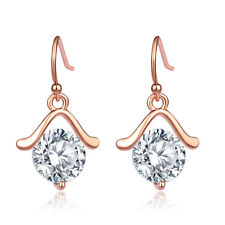 Women Fashion Rose Gold Round Clear Crystal Dangle Hook Earrings Jewelry Lady