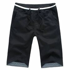 Cotton Men Shorts Beach Slim Fit Drawstring Covered Button Style Casual Pants