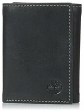 Timberland Mens Leather Trifold Wallet With ID Window, Black (Cloudy)
