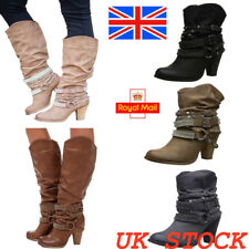 Womens Mid Block Heel Calf Boots Ladies Rivets Buckle Booties Shoes Size UK3-7.5