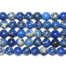 """5 Strand Blue Sediment Sea Turquoise Smooth Round Gemstone Loose Spacer Bead 15"""""""