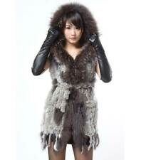 Real Knitted Rabbit Fur Vest Gilet Women Waistcoat Raccoon Trim Hoodie Jacket