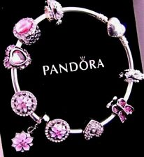 PANDORA  BANGLE BRACELET STERLING SILVER PINK CHARMS Summer Heart POETIC BLOOMS