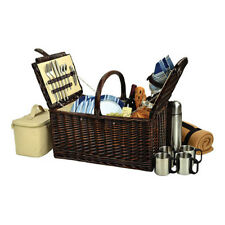 Picnic at Ascot Unisex  Buckingham Basket for Four with Blanket and Coffee Brown