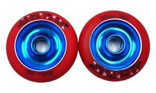 2 X DERAiLED Scooter Wheels, Blue Alloy Metal Core with Red P.U. 100 mm