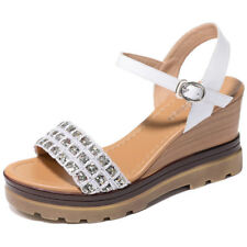 Girls Womens Leather Ankle Strap Open Toe Sandals Platform Wedge Heel Shoes new