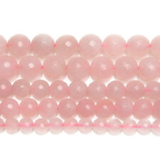 """5 Strand Natural Rose Quartz Faceted Round Ball Gemstone Loose Spacer Beads 15"""""""