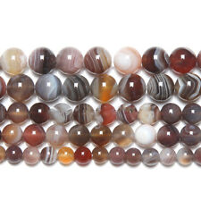 3 Strand Lace Botswana Agate Smooth Round Ball Gemstone Loose Spacer Beads 15""