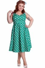 Hell Bunny Plus Size Easter Green and White Polka Dot Halter Dress