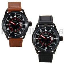 Military Mens Date Army Leather Band Quartz Analog Wrist Watch 12/24 Hour Dial