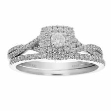 1/2 CT Diamond Wedding Engagement Ring Set 14K White Gold