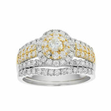 1 1/2 CT Diamond Wedding Engagement Ring Set 14K Two Tone Gold