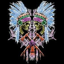 Double Indian Skull Adult Unisex Jumbo Graphic Native American Indian T Shirt