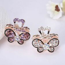 Women Retro Vintage Crystal Rhinestone Mini Butterfly Crown Hairpins Claws Clips