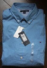 NWT Men Tommy Hilfiger Casual Dots Long-Sleeve Shirt Blue White, XL, Extra Large