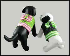 BLACK or LIME GREEN Lined Dog Harness with White Polka Dots and Removable Bow