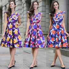 Womens Swing Casual Skater Vintage 50s 60s Floral Rockabilly Ball Gown Dress