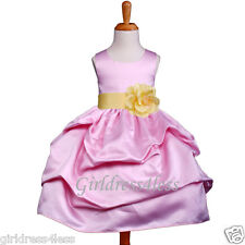 PINK/BELLE YELLOW PICK UP FLOWER GIRL DRESS 6M 12M 18M 2/2T 4/4T 5/6/6X 8 10 12