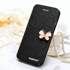 Silk Leather Flip Wallet Stand silk Butterfly Card Phone Case Cover For iPhone